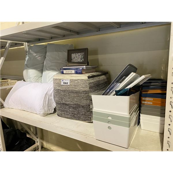 4 PILLOWS, SOFT OTTOMAN, STORAGE CONTAINERS, BOOKS, & PICTURE FRAME