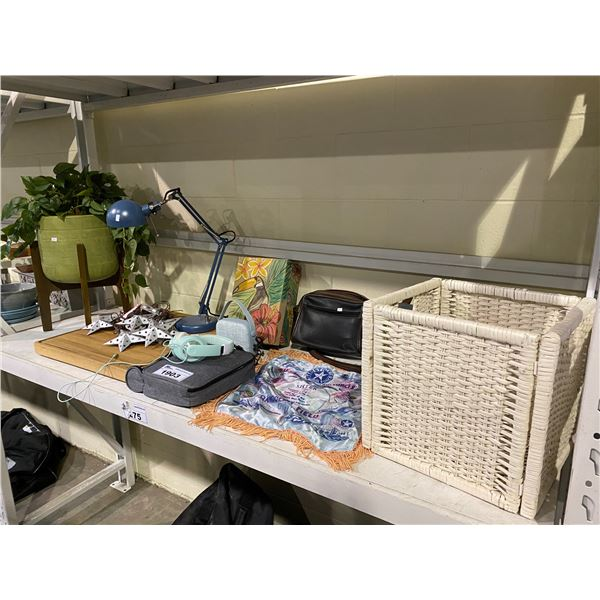 ASSORTED HOME DECOR, DESK LAMP, FAUX PLANT, STORAGE WICKER BIN, LUNCH KIT, BAGS, & MORE