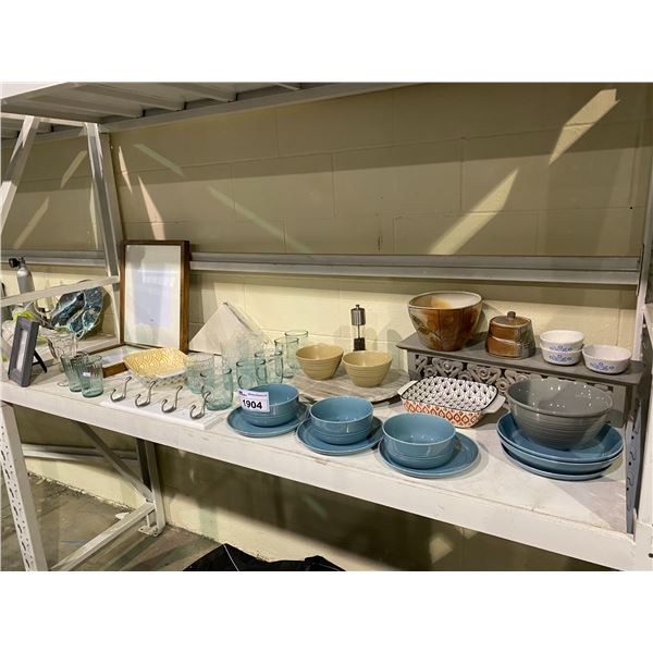 ASSORTED DISHWARE & PICTURE FRAMES