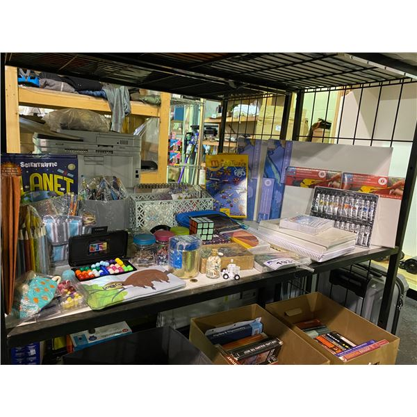 ASSORTED ART SUPPLIES, BLANK CANVAS', TOYS, & MORE