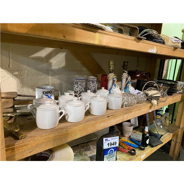 ASSORTED DISHWARE, LAMPS, SHOE INSERTS, & MORE
