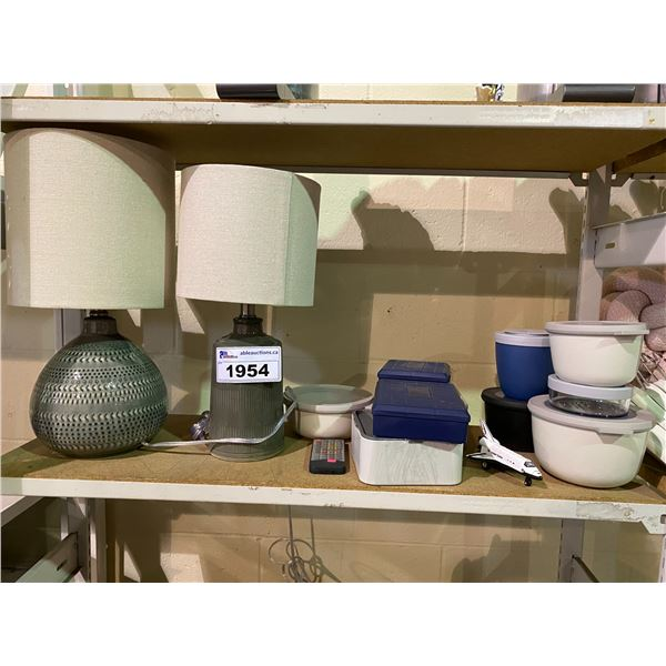 2 TABLE LAMPS & ASSORTED CONTAINERS