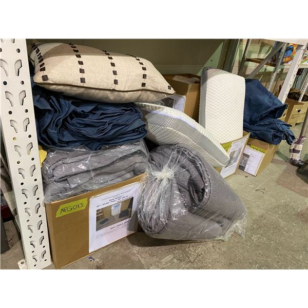 2 MEMORY FOAM PILLOWS & ASSORTED SHEETS+BLANKETS