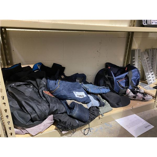 ASSORTED CLOTHING, SOCCER CLEATS, & DUFFLE BAG