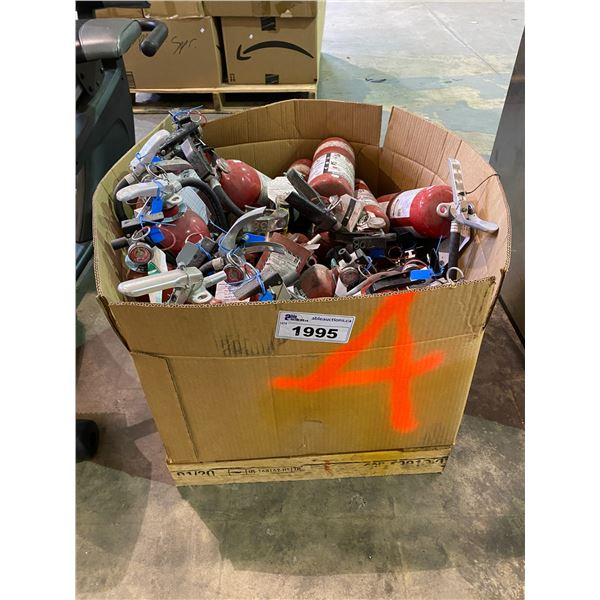 CRATE OF MULTIPLE FIRE EXTINGUISHERS SOME MAY OR MAY NOT HAVE BEEN DISCHARGED