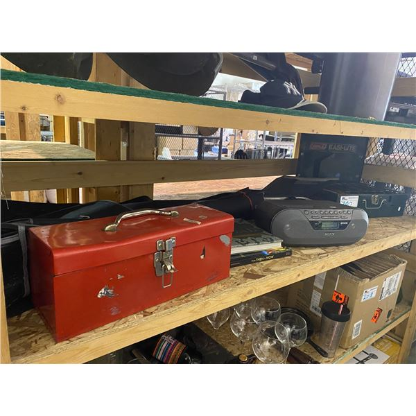 RED TOOL BOX & CONTENTS, GUITAR BAG, SONY BOOMBOX, PORTABLE GAS STOVE, BOOKS, SOLDERING GUN