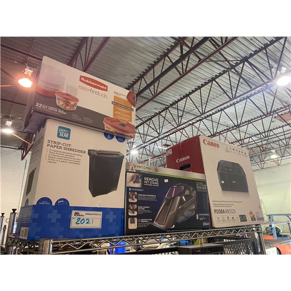 RUBBERMAID EASY FIND LIDS, STRIP-CUT PAPER SHREDDER, CANON PIXMA MX532X PRINTER, BISSELL PET STAIN