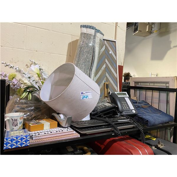 PAIRS OF JEANS, COMMERCIAL PHONE, AREA RUG, KEYBOARDS, LAMP SHADE, BOOKS, CUPS, ETC