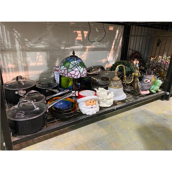 ASSORTED COOKWARE, TABLE LAMP, FAUX PLANTS, HOUSEHOLD DECOR, ETC