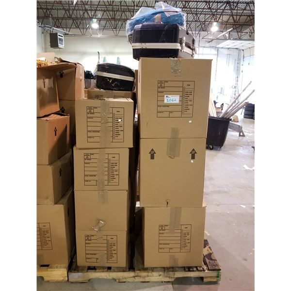 PALLET OF ASSORTED STORAGE LOCKER GOODS (HOUSEHOLD ITEMS, HARDSHELL CASES, ETC)