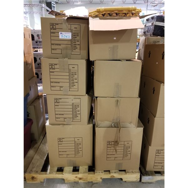 PALLET OF ASSORTED STORAGE LOCKER GOODS (HOUSEHOLD ITEMS, BASKETS, ETC)