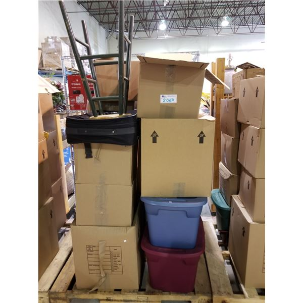 PALLET OF ASSORTED STORAGE LOCKER GOODS (HOUSEHOLD ITEMS, TRAVEL CASE, STOOL, ETC)