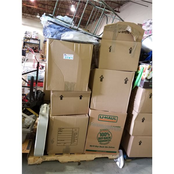 PALLET OF ASSORTED STORAGE LOCKER GOODS (HOUSEHOLD ITEMS, CLOTHING, ETC)