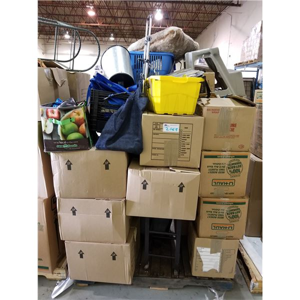 PALLET OF ASSORTED STORAGE LOCKER GOODS (HOUSEHOLD ITEMS, LINEN, ETC)