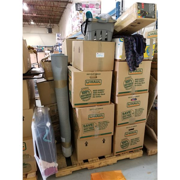 PALLET OF ASSORTED STORAGE LOCKER GOODS (HOUSEHOLD ITEMS, CLOTHES, AREA RUG, ETC)