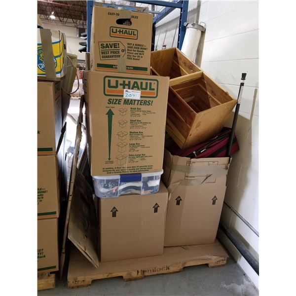 PALLET OF ASSORTED STORAGE LOCKER GOODS (HOUSEHOLD ITEMS, CLOTHES, FURNITURE, ETC)