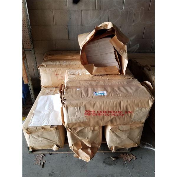PALLET OF CHECKSTAND PLAIN PAPER BAGS