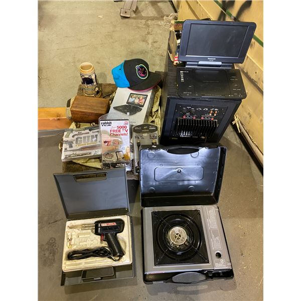 PORTABLE DVD PLAYERS, SUBWOOFER, YUMMIES HAT, SOLDERING GUN, PORTABLE BURNER, WATCHES, & MORE