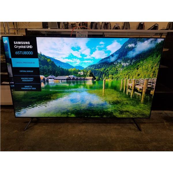 "SAMSUNG 65"" 4K SMART TV MODEL UN65TU8000F (WITH REMOTE, CORD, AND STAND)"