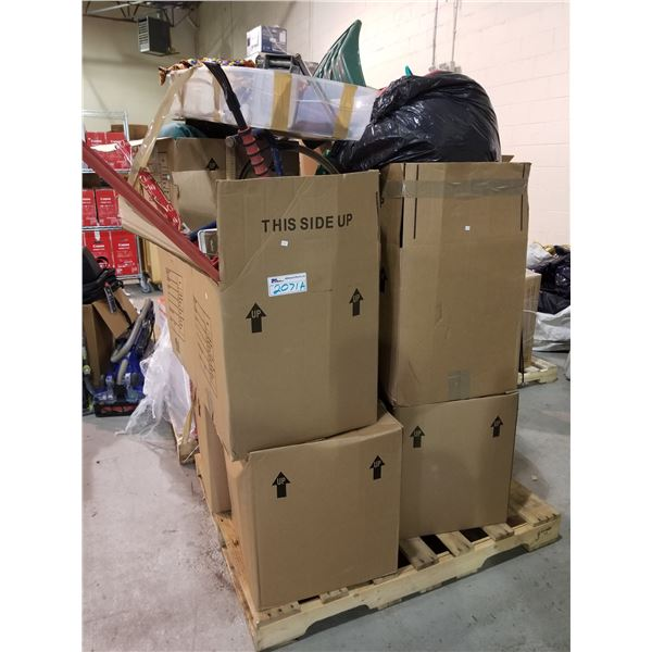 PALLET OF STORAGE LOCKER ITEMS (HOUSEHOLD ITEMS, SNOW SHOVEL, SNOW SCRAPER, X-MAS PAPER, ETC)