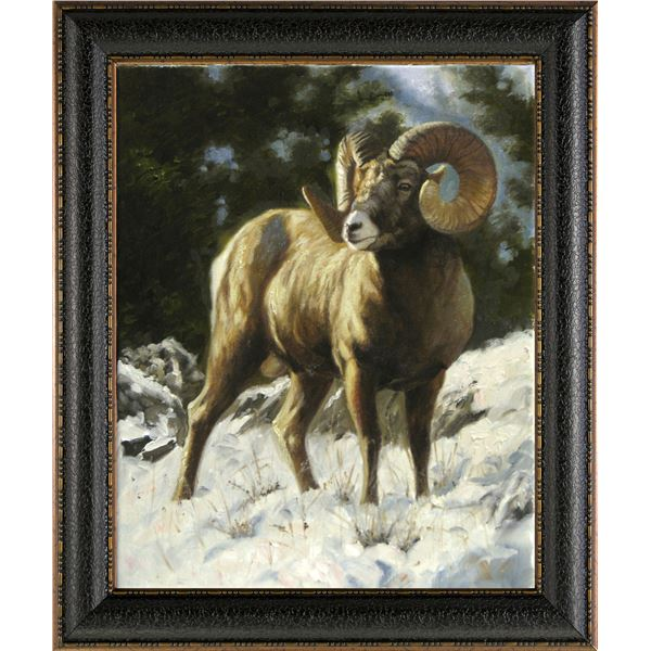Dallen Lambson Wildlife Art Original Bighorn Sheep ' The Loner'