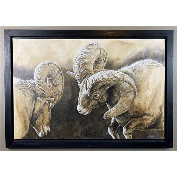 """Original Artwork """"Collision Course"""" charcoal and acrylic painting by Joel Pilcher"""