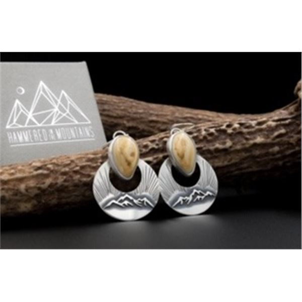 Hammered in the Mountains hand crafted ivory elk earrings