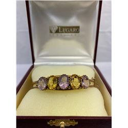 Exquisite Late Victorian Citrine Amethyst Bangle Bracelet