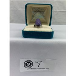 Large lavendar genuine chrysoprase ring