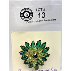 Emerald green rhinestone brooch