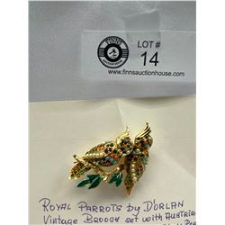 1957 Royal parrots by D'orlan brooch