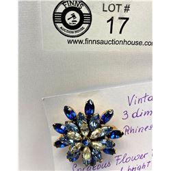 Vintage blue 3 dimensional rhinestone flower brooch