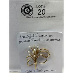 Brooch with genuine pearls by Krementz