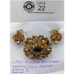 1950's rhinestone brooch with clip on earrings