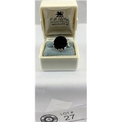 Classic Art deco black onyx ring