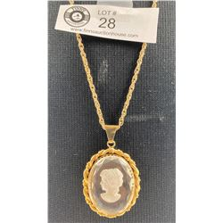 Vintage Intaglio glass cameo pendant with chain
