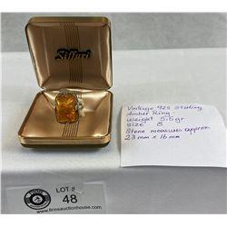 Vintage .925 Sterling Amber Ring
