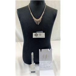 Rhinestone Necklace Set- Earrings and Bracelet