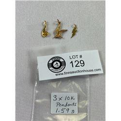 3 x 10K Gold Pendants 1.59 Grams