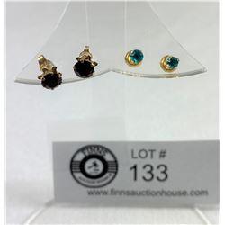 10k Red Stone & 14k Blue Stone Earrings