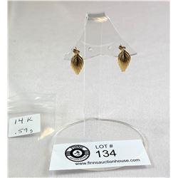 14k Gold Earrings .59 Grams