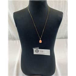 14k Gold Chain 1.26 Grams Carved 14k Coral Pendant