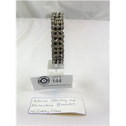 Adorna Sterling and Rhinestone Bracelet w Safety Chain