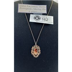 Watch Fob/ Medal Necklace Birmingham, Sterling 1910