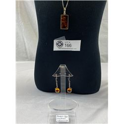 Amber .925 Necklace and Earrings