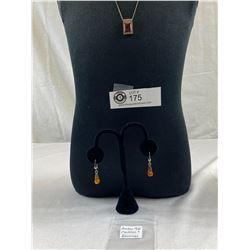 .925 Amber Necklace and Earrings