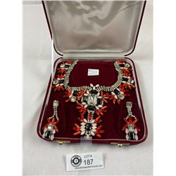 Vintage Bijoux M.G Rhinestone Necklace And Earrings Set