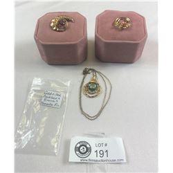 Vintage Gold Filled Necklace, Brooch And Krementz Pin