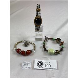 Lot Of 3 Bracelets With Stones, Pearls, Etc.