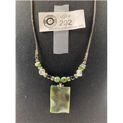 Beautiful Jade And Leather Necklace